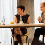 Die Diskutanten im Dialog: Terézia Mora, Lilian-Astrid Geese (AIIC), Günther Orth